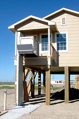 Wheelchair lift at upper landing. Galveston, Houston